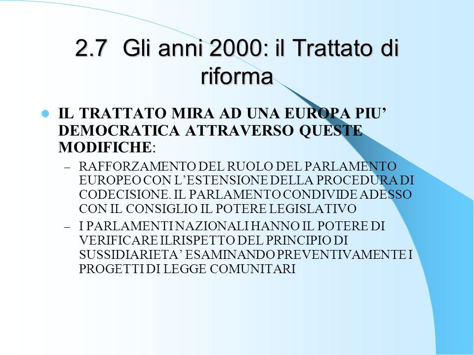 2.7Gli anni 2000: il Trattato di riforma IL TRATTATO MIRA AD UNA EUROPA PIU DEMOCRATICA ATTRAVERSO QUESTE MODIFICHE: – RAFFORZAMENTO DEL RUOLO DEL PAR