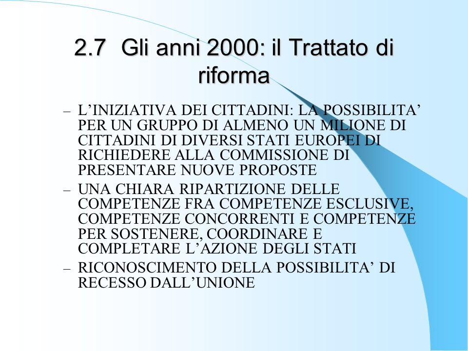 2.7Gli anni 2000: il Trattato di riforma – LINIZIATIVA DEI CITTADINI: LA POSSIBILITA PER UN GRUPPO DI ALMENO UN MILIONE DI CITTADINI DI DIVERSI STATI