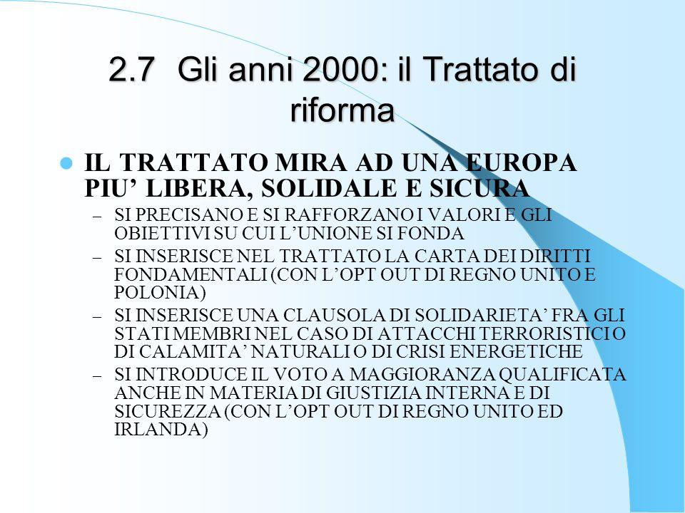 2.7Gli anni 2000: il Trattato di riforma IL TRATTATO MIRA AD UNA EUROPA PIU LIBERA, SOLIDALE E SICURA – SI PRECISANO E SI RAFFORZANO I VALORI E GLI OB