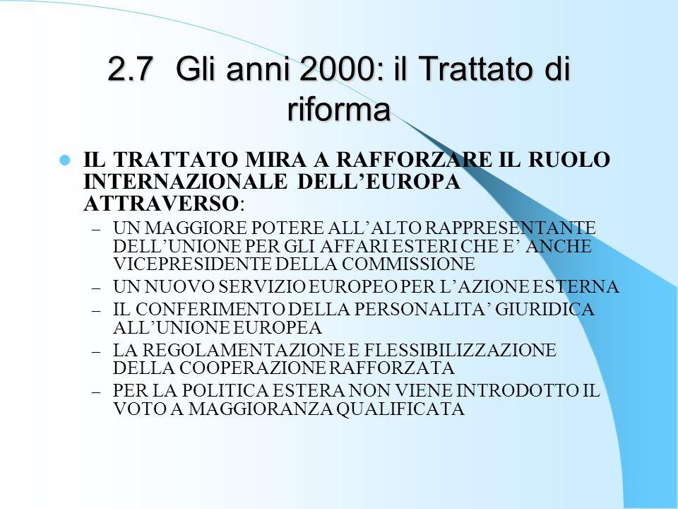 2.7Gli anni 2000: il Trattato di riforma IL TRATTATO MIRA A RAFFORZARE IL RUOLO INTERNAZIONALE DELLEUROPA ATTRAVERSO: – UN MAGGIORE POTERE ALLALTO RAP