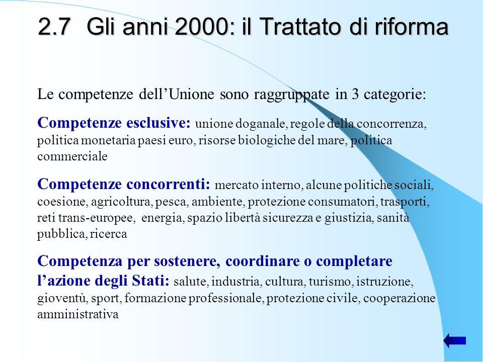 2.7Gli anni 2000: il Trattato di riforma Le competenze dellUnione sono raggruppate in 3 categorie: Competenze esclusive: unione doganale, regole della