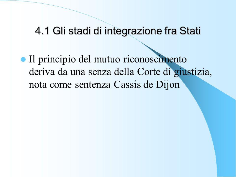 4.1 Gli stadi di integrazione fra Stati Il principio del mutuo riconoscimento deriva da una senza della Corte di giustizia, nota come sentenza Cassis