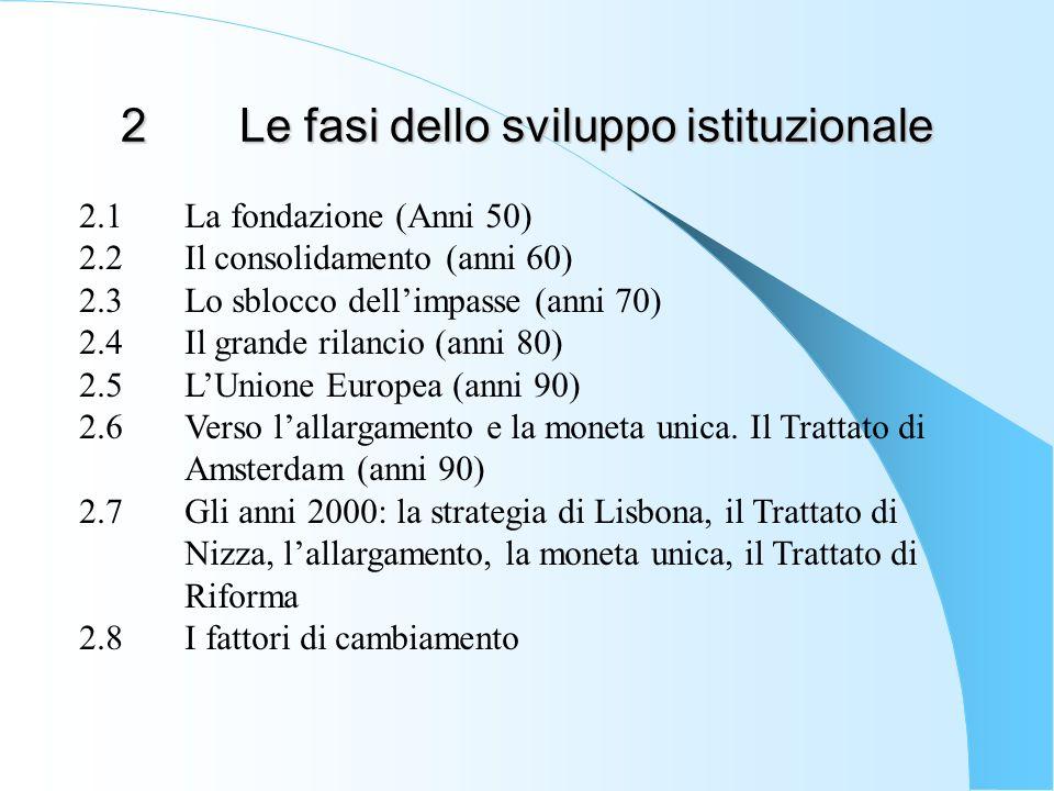 2.5Dalla Comunità economica allUnione Europea (anni 90) Il contesto degli anni 90 è caratterizzato dal processo di dissoluzione dellUnione sovietica e dalla riunificazione della Germania (1990)che segue la caduta del muro di Berlino(1989) La riunificazione della Germania accelera i processi dintegrazione monetaria, sociale e politica della Comunità europea che porteranno nel 1992 alladozione del Trattato dellUnione Europea e successivamente allallargamento dellUnione ai Paesi dellex-Unione sovietica.