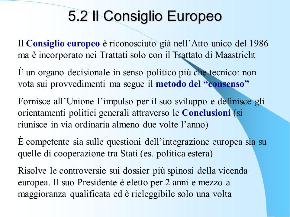 5.2 Il Consiglio Europeo Il Consiglio europeo è riconosciuto già nellAtto unico del 1986 ma è incorporato nei Trattati solo con il Trattato di Maastri