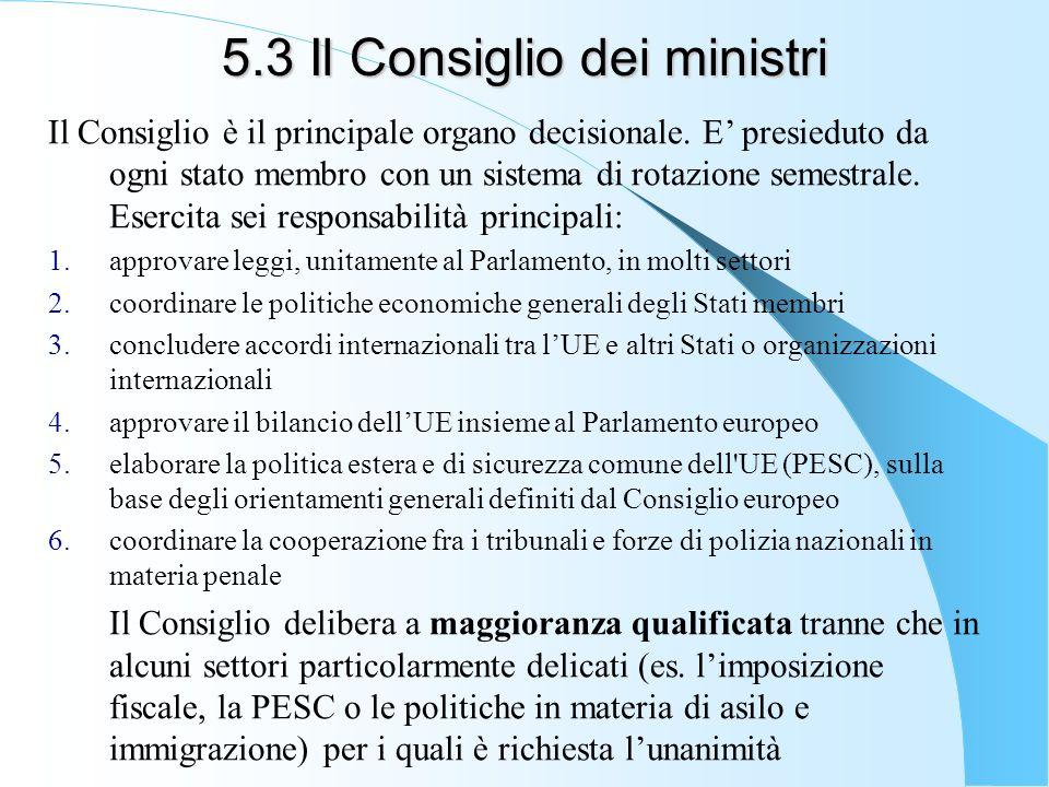 5.3 Il Consiglio dei ministri Il Consiglio è il principale organo decisionale. E presieduto da ogni stato membro con un sistema di rotazione semestral