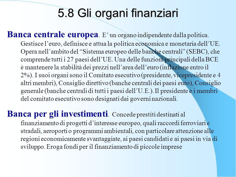 5.8 Gli organi finanziari Banca centrale europea. E un organo indipendente dalla politica. Gestisce leuro, definisce e attua la politica economica e m