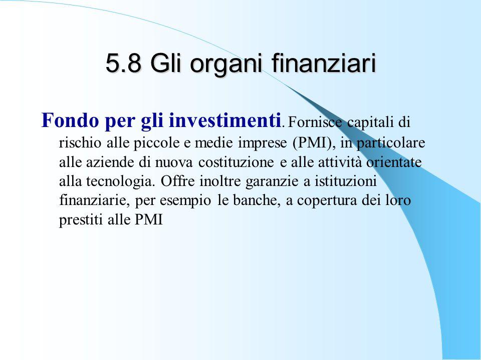 5.8 Gli organi finanziari Fondo per gli investimenti. Fornisce capitali di rischio alle piccole e medie imprese (PMI), in particolare alle aziende di