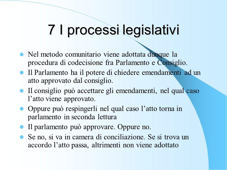 7 I processi legislativi Nel metodo comunitario viene adottata dunque la procedura di codecisione fra Parlamento e Consiglio. Il Parlamento ha il pote