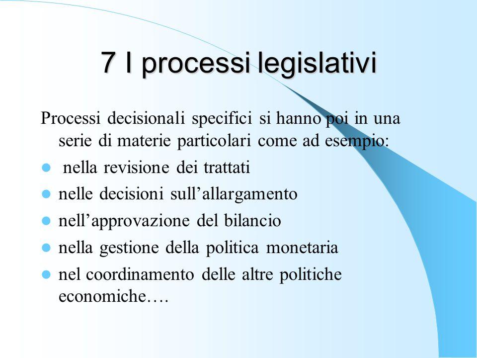 7 I processi legislativi Processi decisionali specifici si hanno poi in una serie di materie particolari come ad esempio: nella revisione dei trattati