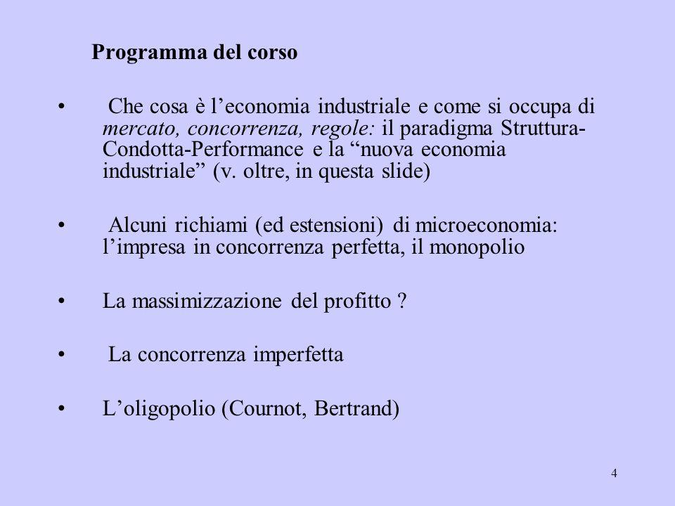 4 Programma del corso Che cosa è leconomia industriale e come si occupa di mercato, concorrenza, regole: il paradigma Struttura- Condotta-Performance