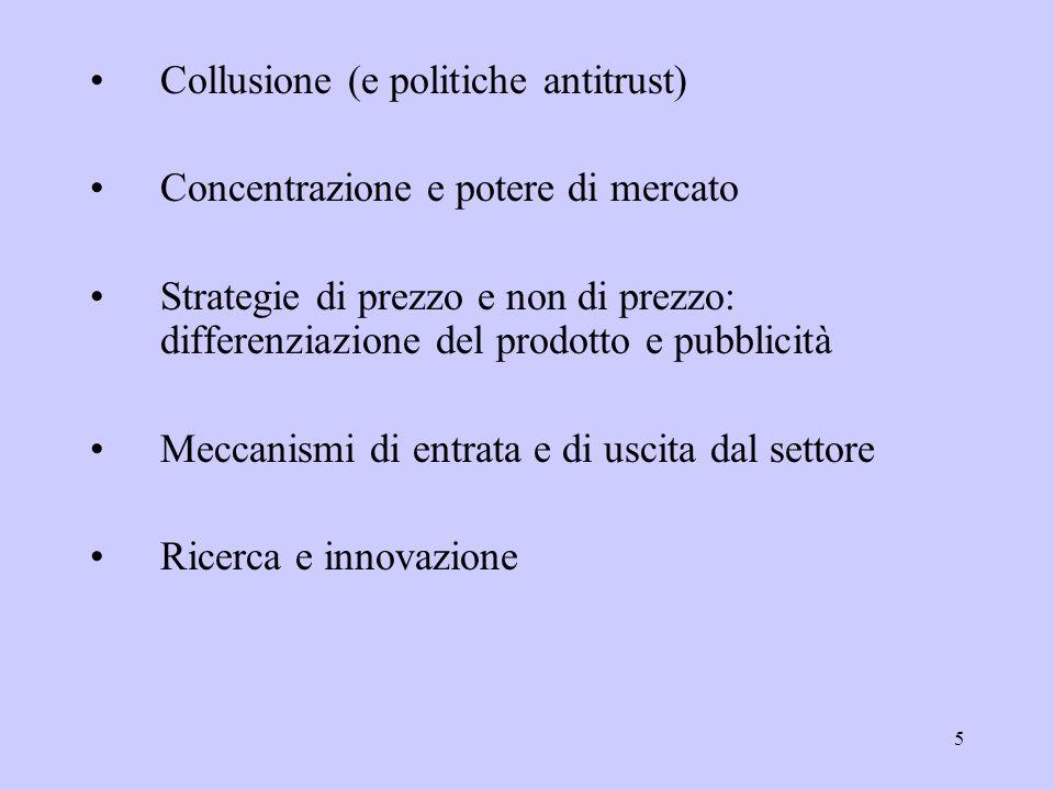 5 Collusione (e politiche antitrust) Concentrazione e potere di mercato Strategie di prezzo e non di prezzo: differenziazione del prodotto e pubblicit