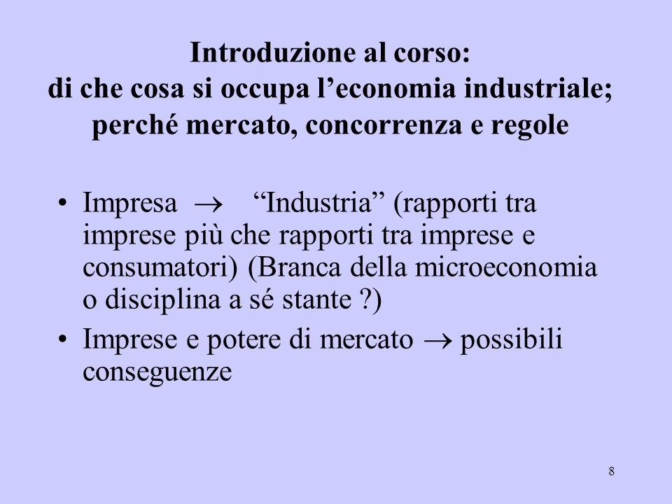 8 Introduzione al corso: di che cosa si occupa leconomia industriale; perché mercato, concorrenza e regole Impresa Industria (rapporti tra imprese più