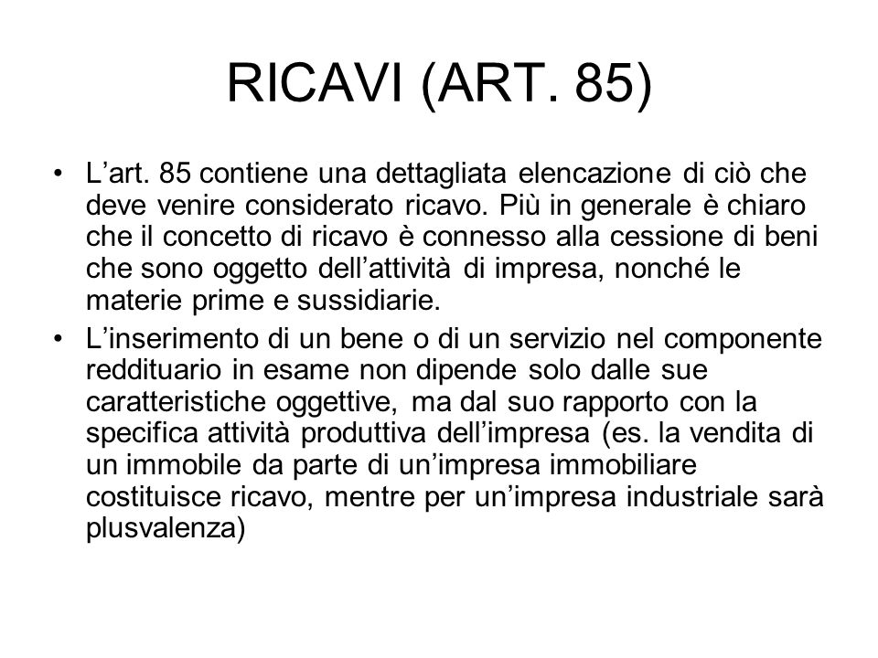 RICAVI (ART.85) Lart.