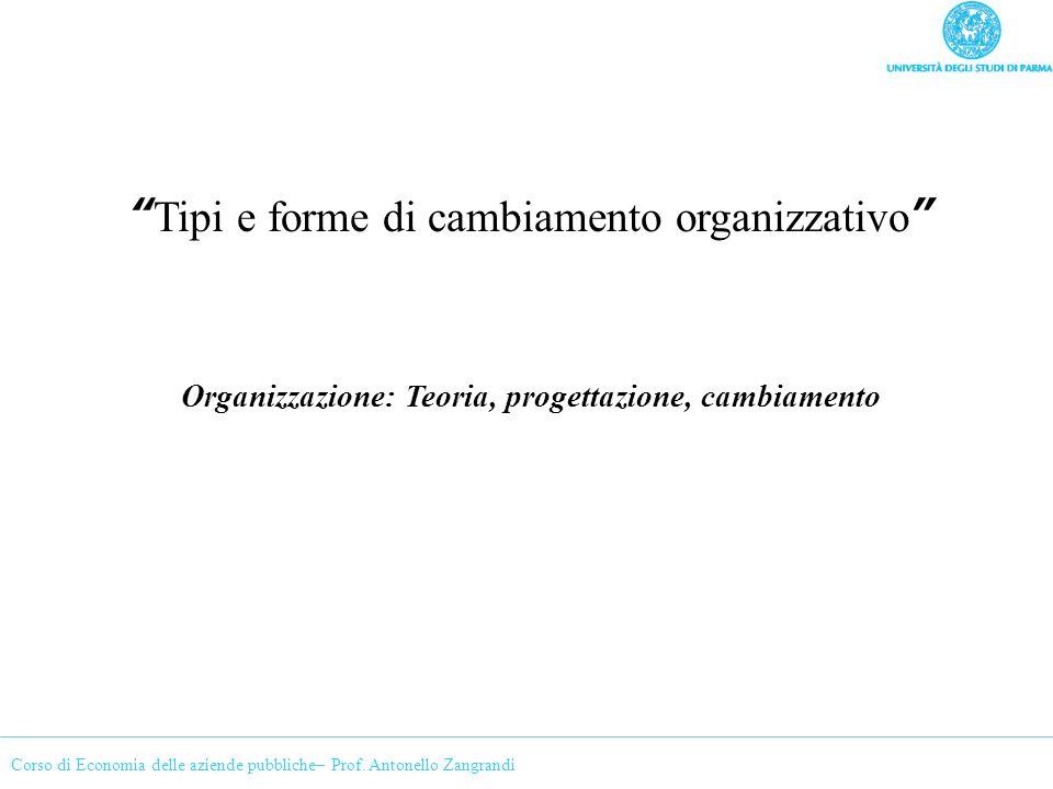 Corso di Economia delle aziende pubbliche– Prof. Antonello Zangrandi Tipi e forme di cambiamento organizzativo Organizzazione: Teoria, progettazione,
