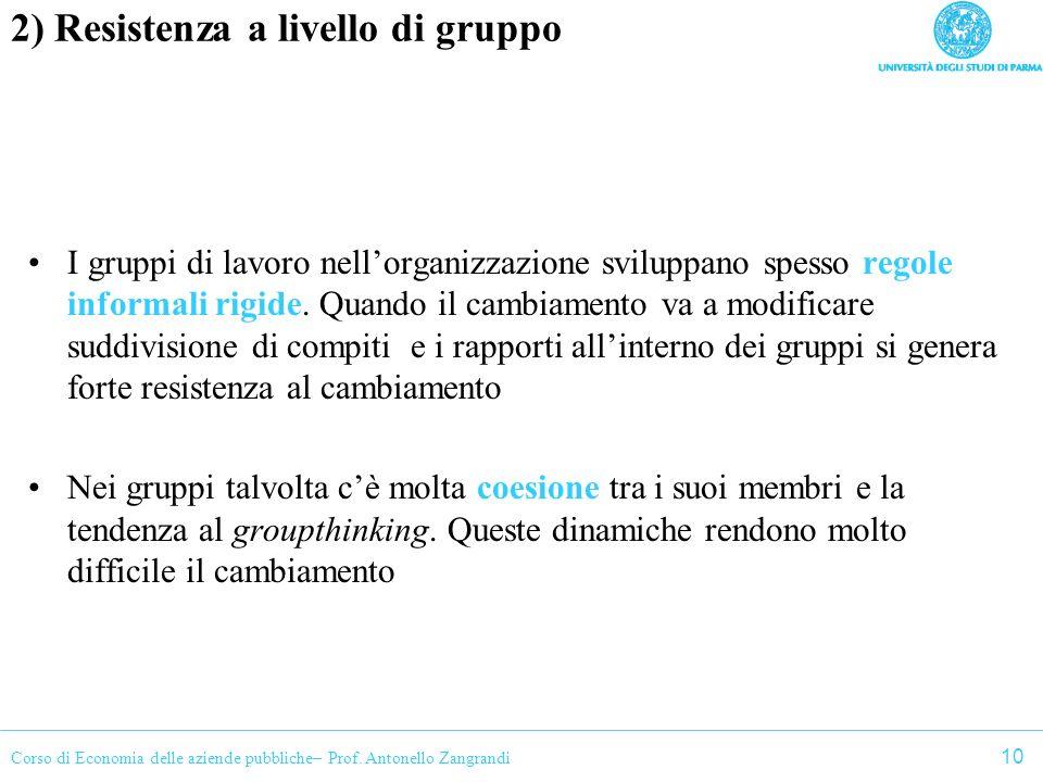 Corso di Economia delle aziende pubbliche– Prof. Antonello Zangrandi 2) Resistenza a livello di gruppo I gruppi di lavoro nellorganizzazione sviluppan