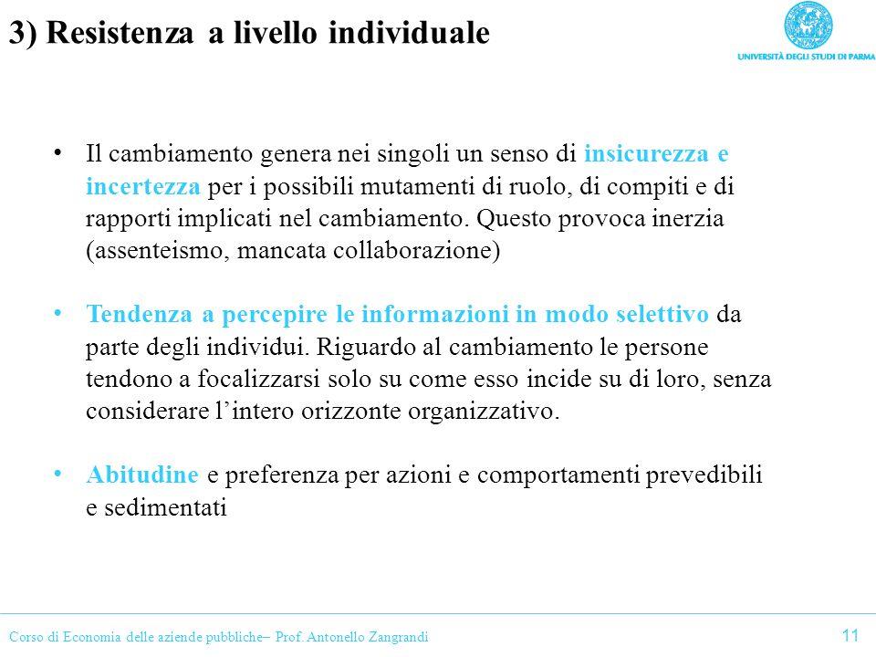 Corso di Economia delle aziende pubbliche– Prof. Antonello Zangrandi 3) Resistenza a livello individuale Il cambiamento genera nei singoli un senso di