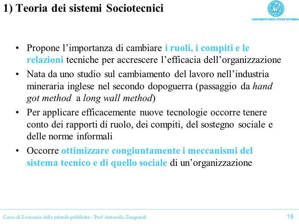 Corso di Economia delle aziende pubbliche– Prof. Antonello Zangrandi 1) Teoria dei sistemi Sociotecnici Propone limportanza di cambiare i ruoli, i com