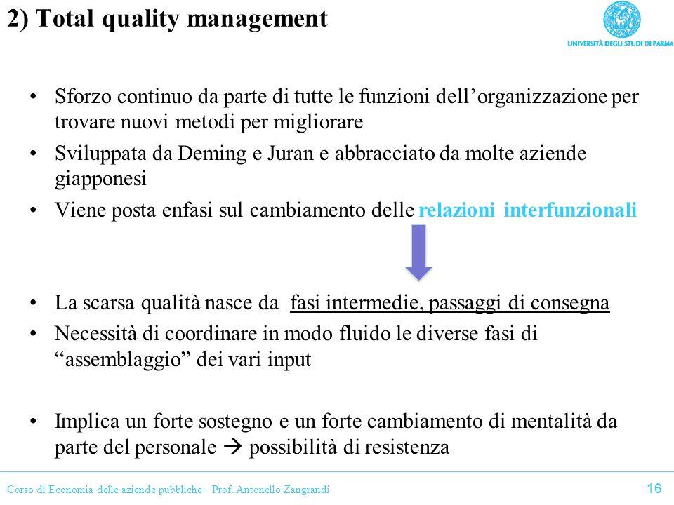 Corso di Economia delle aziende pubbliche– Prof. Antonello Zangrandi 2) Total quality management Sforzo continuo da parte di tutte le funzioni dellorg