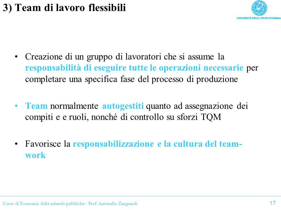 Corso di Economia delle aziende pubbliche– Prof. Antonello Zangrandi 3) Team di lavoro flessibili Creazione di un gruppo di lavoratori che si assume l