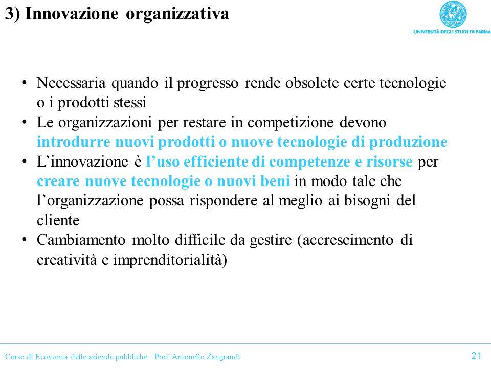Corso di Economia delle aziende pubbliche– Prof. Antonello Zangrandi 3) Innovazione organizzativa Necessaria quando il progresso rende obsolete certe