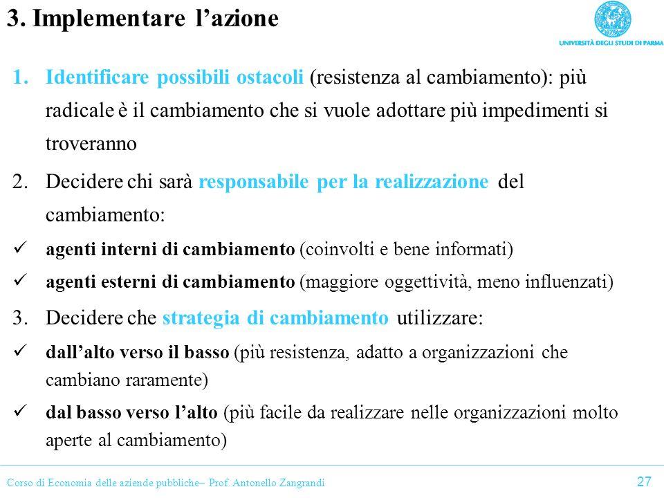 Corso di Economia delle aziende pubbliche– Prof. Antonello Zangrandi 3. Implementare lazione 1.Identificare possibili ostacoli (resistenza al cambiame