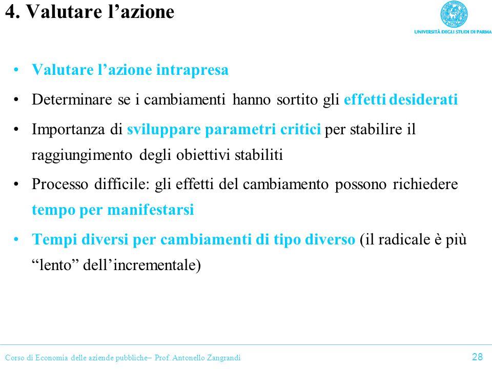 Corso di Economia delle aziende pubbliche– Prof. Antonello Zangrandi 4. Valutare lazione Valutare lazione intrapresa Determinare se i cambiamenti hann