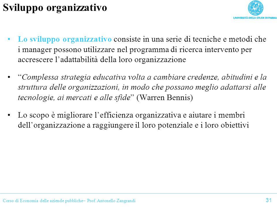 Corso di Economia delle aziende pubbliche– Prof. Antonello Zangrandi Sviluppo organizzativo Lo sviluppo organizzativo consiste in una serie di tecnich
