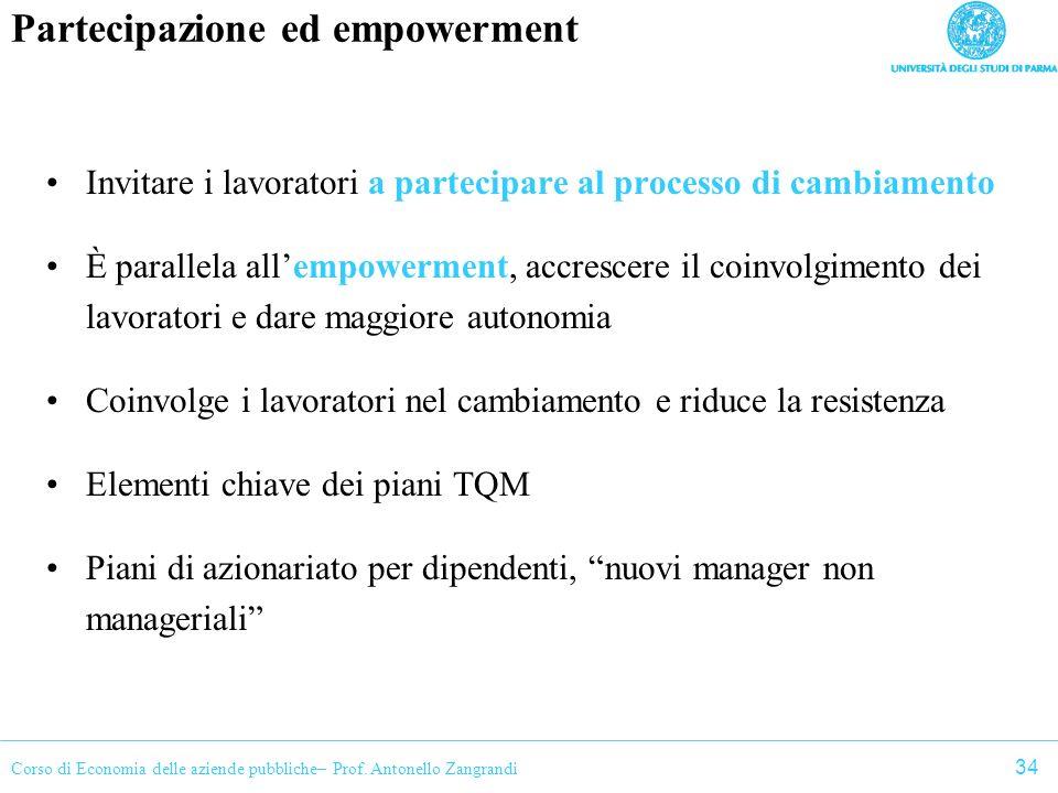 Corso di Economia delle aziende pubbliche– Prof. Antonello Zangrandi Partecipazione ed empowerment Invitare i lavoratori a partecipare al processo di