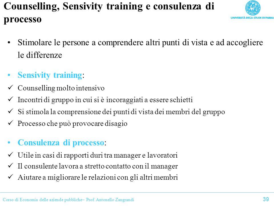 Corso di Economia delle aziende pubbliche– Prof. Antonello Zangrandi Counselling, Sensivity training e consulenza di processo Stimolare le persone a c