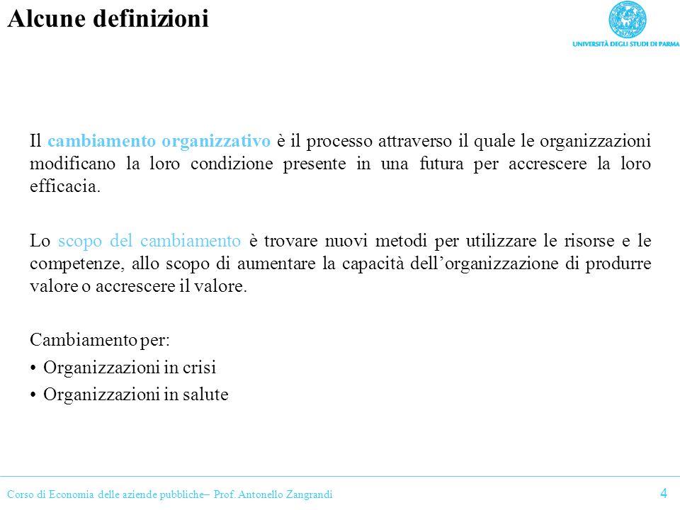 Corso di Economia delle aziende pubbliche– Prof. Antonello Zangrandi Alcune definizioni Il cambiamento organizzativo è il processo attraverso il quale