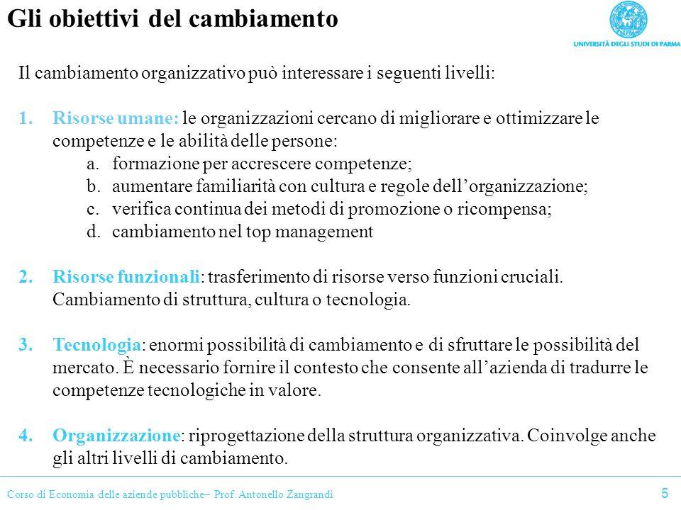 Corso di Economia delle aziende pubbliche– Prof. Antonello Zangrandi Gli obiettivi del cambiamento Il cambiamento organizzativo può interessare i segu