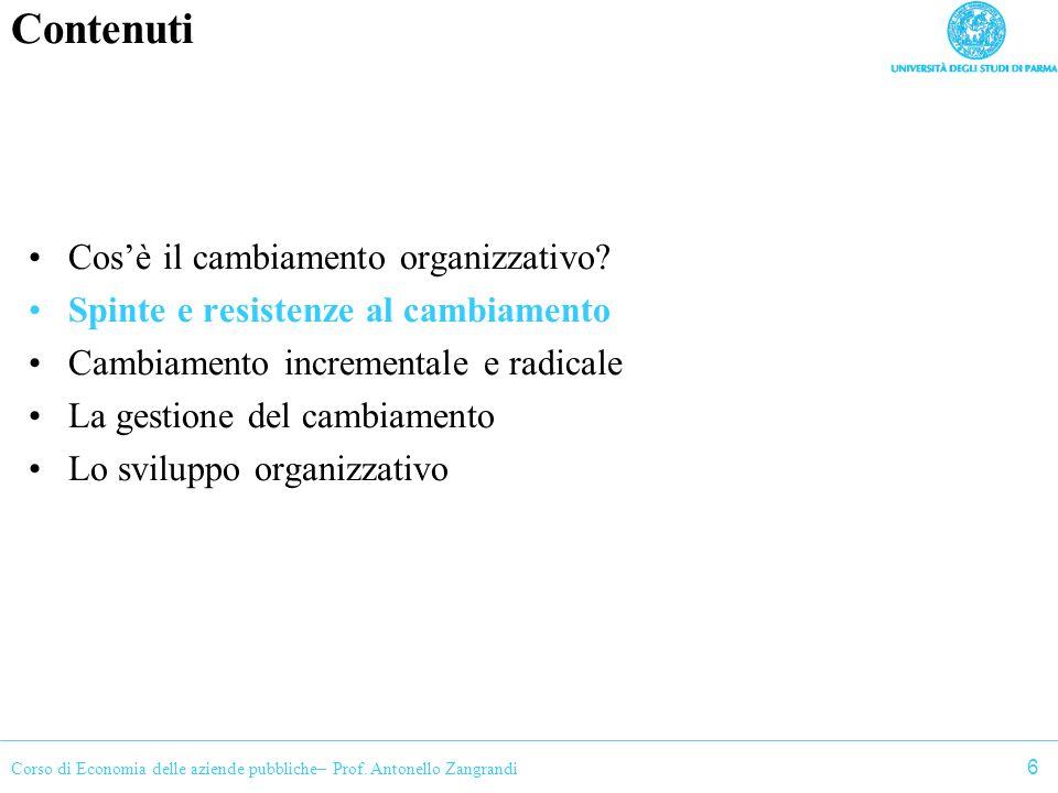 Corso di Economia delle aziende pubbliche– Prof. Antonello Zangrandi Contenuti Cosè il cambiamento organizzativo? Spinte e resistenze al cambiamento C