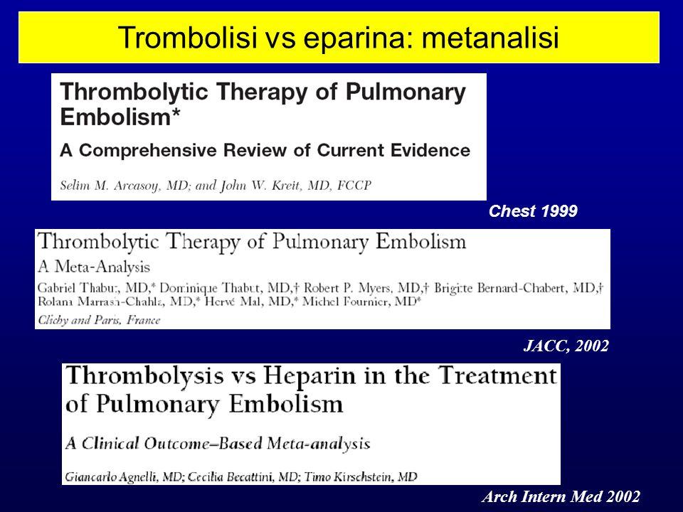 Trombolisi vs eparina: metanalisi Arch Intern Med 2002 JACC, 2002 Chest 1999