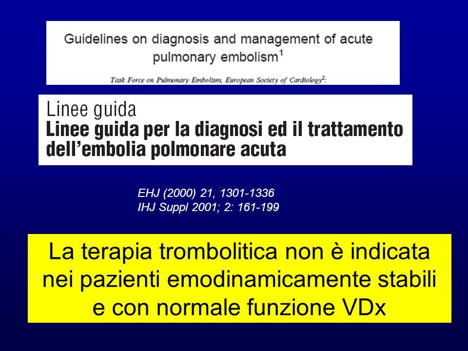 La terapia trombolitica non è indicata nei pazienti emodinamicamente stabili e con normale funzione VDx EHJ (2000) 21, 1301-1336 IHJ Suppl 2001; 2: 16
