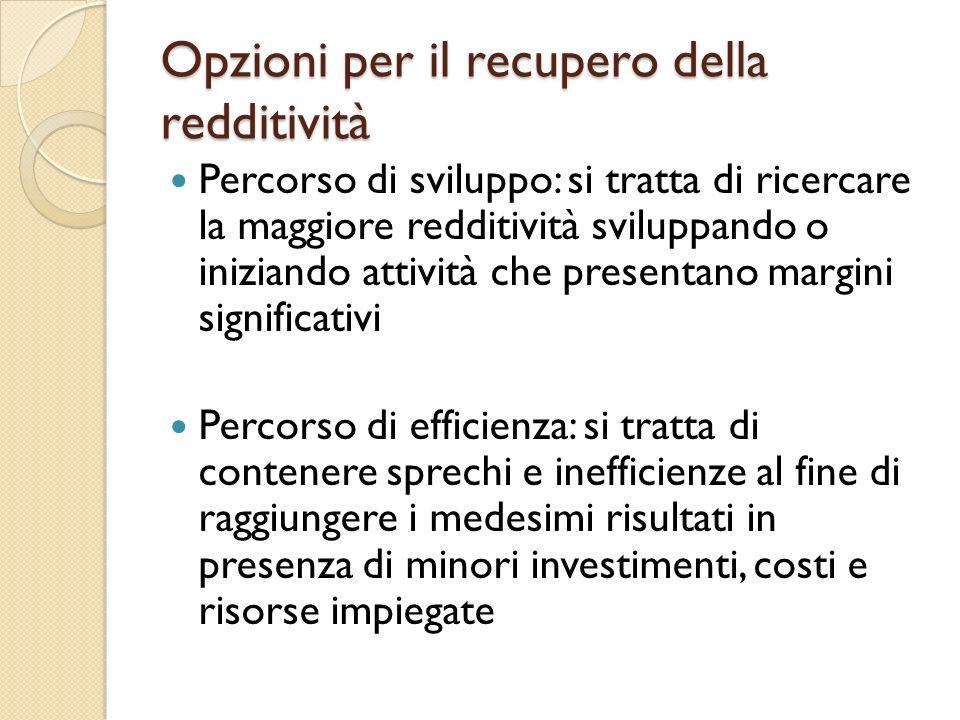 Opzioni per il recupero della redditività Percorso di sviluppo: si tratta di ricercare la maggiore redditività sviluppando o iniziando attività che pr