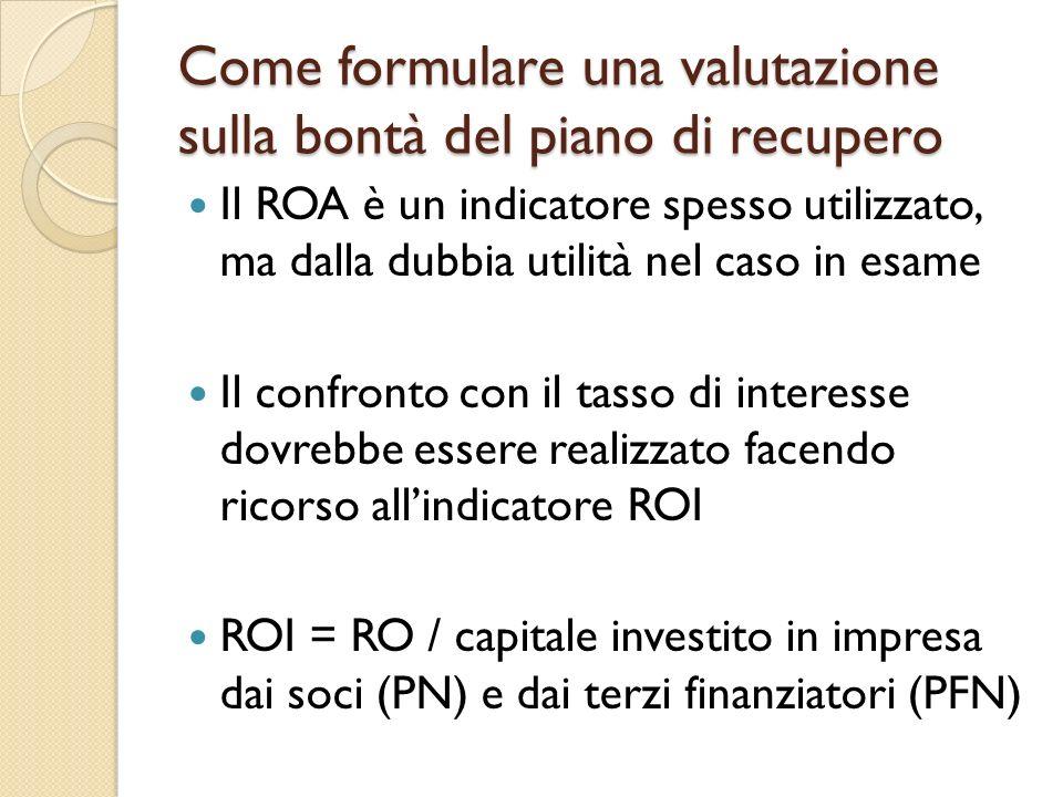 Come formulare una valutazione sulla bontà del piano di recupero Il ROA è un indicatore spesso utilizzato, ma dalla dubbia utilità nel caso in esame I