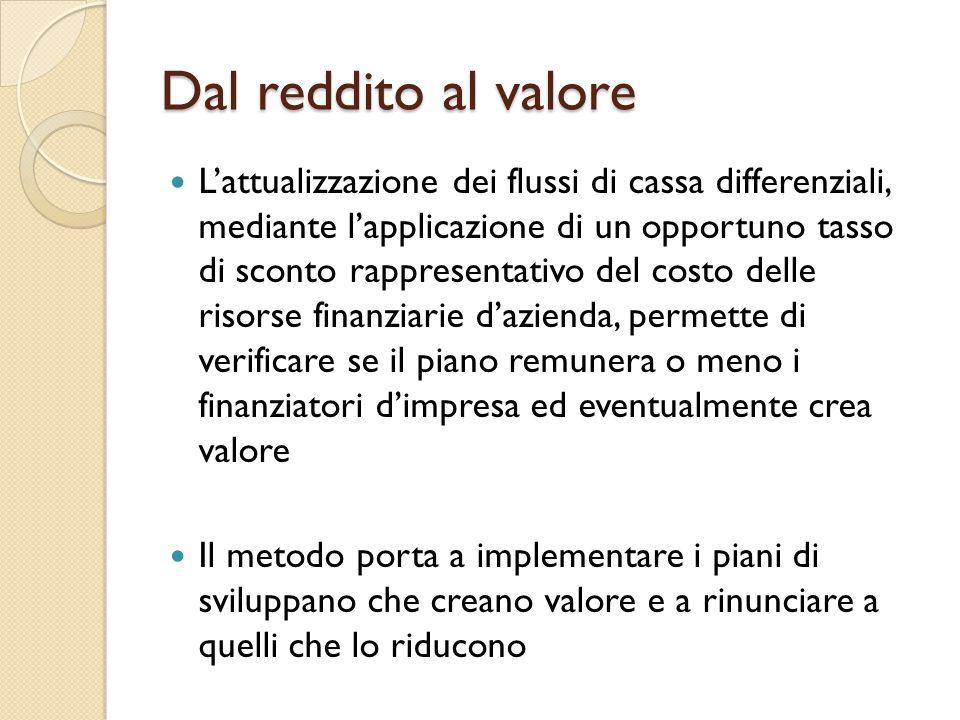 Dal reddito al valore Lattualizzazione dei flussi di cassa differenziali, mediante lapplicazione di un opportuno tasso di sconto rappresentativo del c