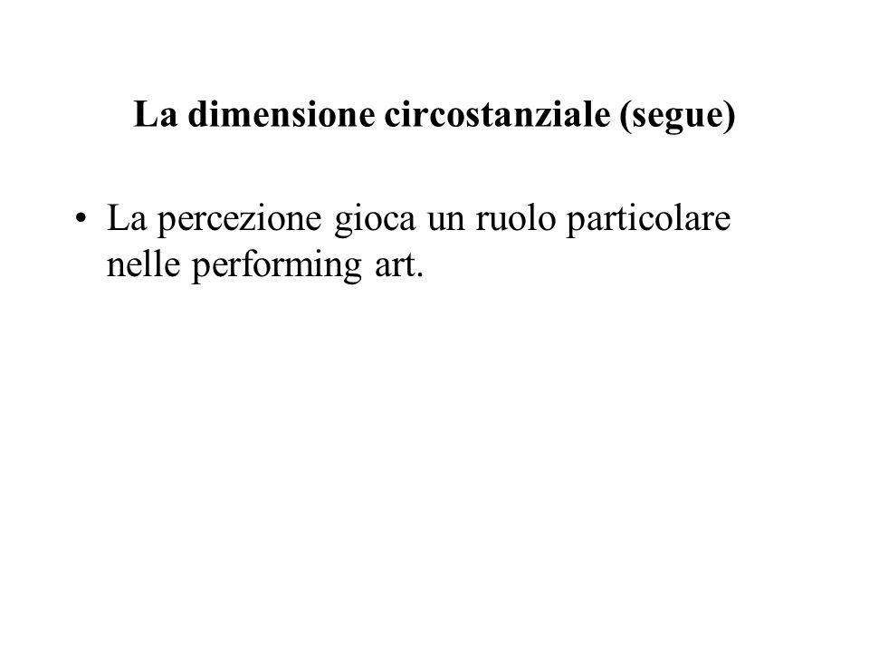 La dimensione circostanziale (segue) La percezione gioca un ruolo particolare nelle performing art.