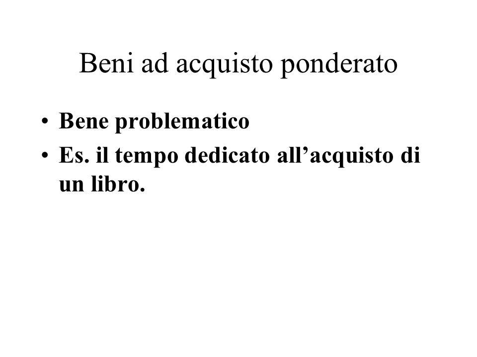 Beni ad acquisto ponderato Bene problematico Es. il tempo dedicato allacquisto di un libro.