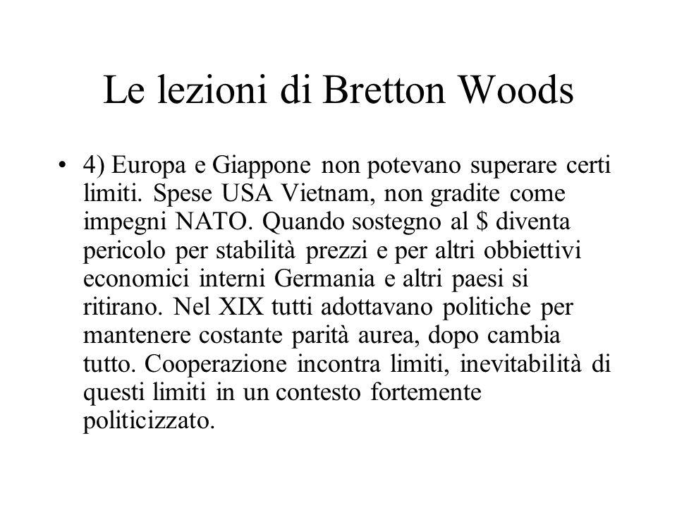 Le lezioni di Bretton Woods 4) Europa e Giappone non potevano superare certi limiti. Spese USA Vietnam, non gradite come impegni NATO. Quando sostegno