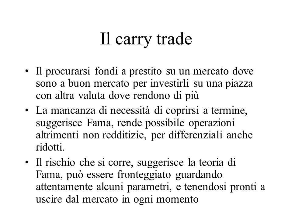 Il carry trade Il procurarsi fondi a prestito su un mercato dove sono a buon mercato per investirli su una piazza con altra valuta dove rendono di più
