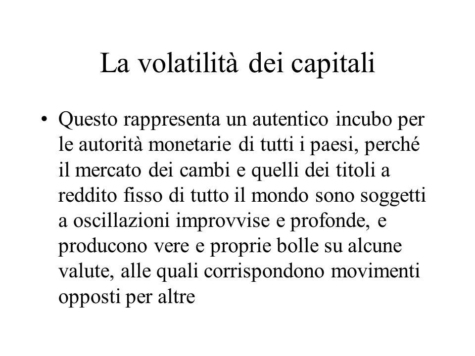 La volatilità dei capitali Questo rappresenta un autentico incubo per le autorità monetarie di tutti i paesi, perché il mercato dei cambi e quelli dei titoli a reddito fisso di tutto il mondo sono soggetti a oscillazioni improvvise e profonde, e producono vere e proprie bolle su alcune valute, alle quali corrispondono movimenti opposti per altre