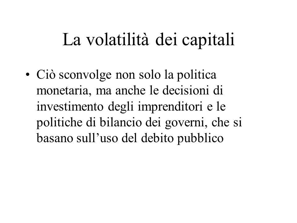 La volatilità dei capitali Ciò sconvolge non solo la politica monetaria, ma anche le decisioni di investimento degli imprenditori e le politiche di bi
