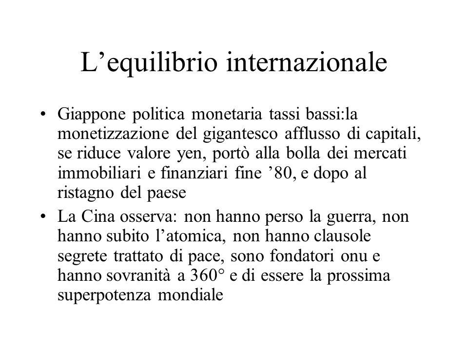 Lequilibrio internazionale Giappone politica monetaria tassi bassi:la monetizzazione del gigantesco afflusso di capitali, se riduce valore yen, portò