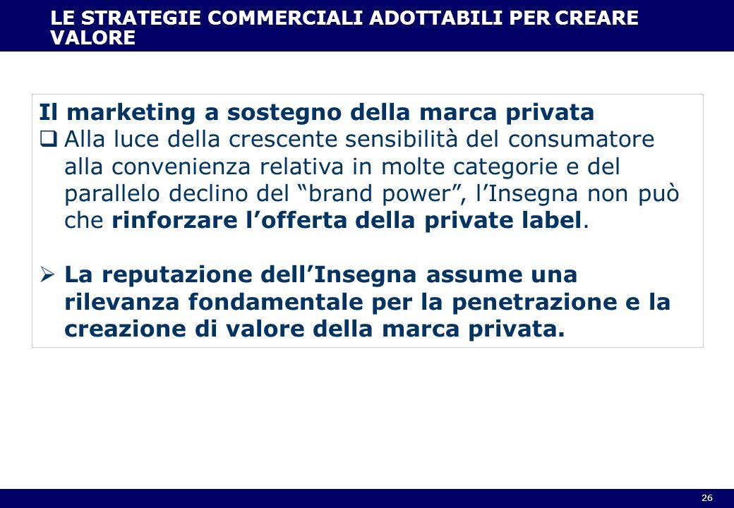 26 LE STRATEGIE COMMERCIALI ADOTTABILI PER CREARE VALORE Il marketing a sostegno della marca privata Alla luce della crescente sensibilità del consuma