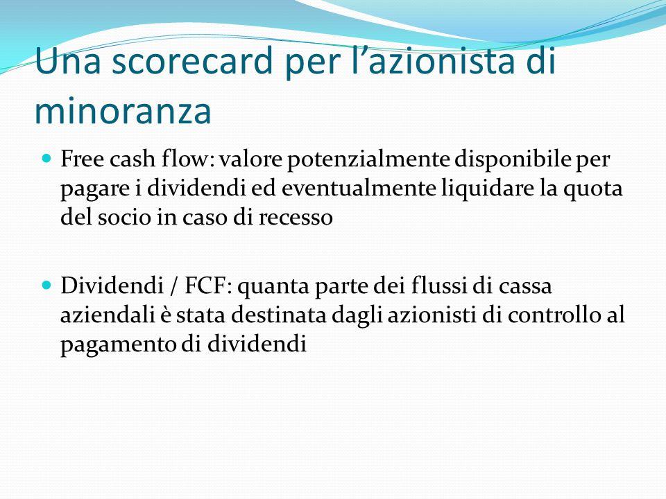 Una scorecard per lazionista di minoranza Free cash flow: valore potenzialmente disponibile per pagare i dividendi ed eventualmente liquidare la quota