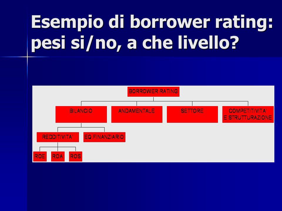 Esempio di borrower rating: pesi si/no, a che livello?