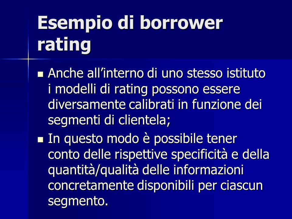 Esempio di borrower rating Anche allinterno di uno stesso istituto i modelli di rating possono essere diversamente calibrati in funzione dei segmenti