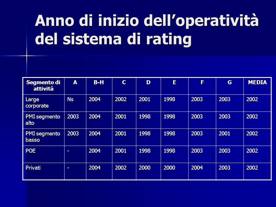 Anno di inizio delloperatività del sistema di rating Segmento di attività AB-HCDEFGMEDIA Large corporate Ns2004200220011998200320032002 PMI segmento a