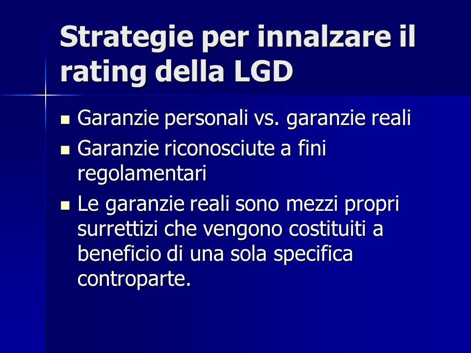 Strategie per innalzare il rating della LGD Garanzie personali vs. garanzie reali Garanzie personali vs. garanzie reali Garanzie riconosciute a fini r